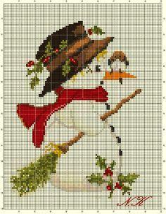 """Snowman with a bird"" cross stitch"