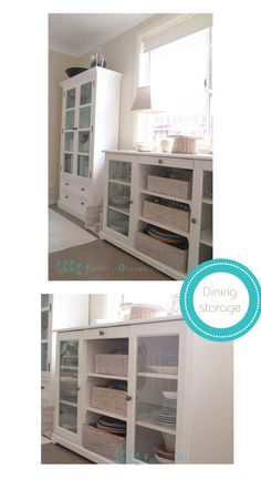 Ikea Hemnes cabinet and liatorp sideboard for dining room storage
