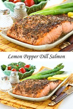 Quick and easy Lemon Pepper Dill Salmon, perfect for busy weeknights. Can be prepared in 15 minutes.   RotiNRice.com
