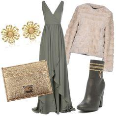 Look molto elegante adatto per una serata importante composto da vestito  lungo asimmetrico fff3d4b45da