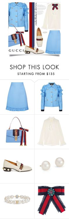"""""""Make a Statement: Embellished Sleeves"""" by leslee-dawn ❤ liked on Polyvore featuring Gucci, Blue Nile, gucci, BlueNile and embellishedsleeves"""