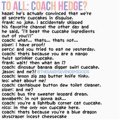 Coach Hedge's cupcake descriptions for the seven (credits to @thesassysevendemigods on Instagram)