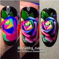 Summer Nail Designs - My Cool Nail Designs Colorful Nail Designs, Cool Nail Designs, Bright Colored Nails, Blue Nail, Nail Art Fleur, Art Rose, Watermelon Nails, Nagel Hacks, Nail Effects