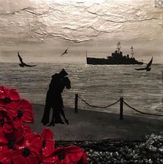 'A Kiss To Last Forever' a perfect gift on Valentine's Day Remembrance Art by Jacqueline Hurley from the War Poppy Collection I love my sailor Remembrance Day Poppy, Royal British Legion, Navy Paint, Hand Painted Rocks, Painted Stones, Lest We Forget, Stone Painting, World War Two, Hurley