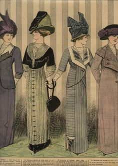 1910 tailored suits for morning, early afternoon, traveling and visiting.