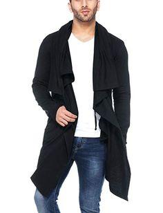 Tinted Men's Cotton Sinker Hooded Waterfall Cardigan,Green,X-Large Hooded Cardigan, Black Cardigan, Army Fancy Dress, Tint Man, Waterfall Cardigan, Black Neck, Fashion Sale, Men's Fashion, Cardigan Fashion
