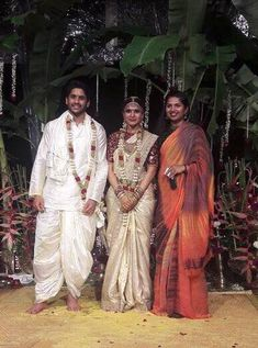 Samantha and Naga Chaitanya Wedding - Saree Blouse Patterns Wedding Outfits For Groom, Groom Wedding Dress, Wedding Saree Blouse, Indian Wedding Outfits, Groom Dress, Wedding Sarees, Wedding Sherwani, Wedding Attire, Indian Outfits