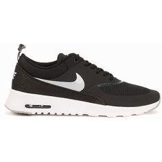Wmns Nike Air Max Thea ($185) ❤ liked on Polyvore featuring shoes, black, everyday shoes, womens-fashion, black shoes, kohl shoes, round toe shoes, nike footwear and round cap