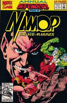 Namor, the Sub-Mariner Annual # 2 Marvel Comics Young Avengers, New Avengers, Marvel X, Captain Marvel, Comic Book Covers, Comic Books, Sub Mariner, New Warriors, Power Man