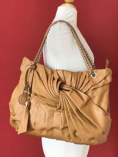IVANKA TRUMP Tan Brown Faux Leather Chain Handle Large Tote Bag  #IVANKATrump #TotesShoppers
