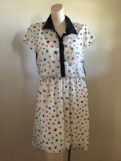 CITY TRENDS Apparel Polka Dot Lightweight Sheer Button Shirt Dress Medium #I-8 | eBay