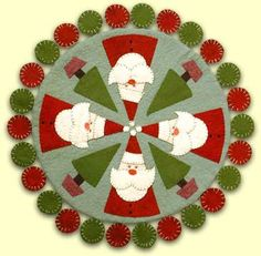 Free Felt Christmas Patterns | Penny Rugs. Wool Felt, Pennyrug Pattern, CleoAndMe Patterns