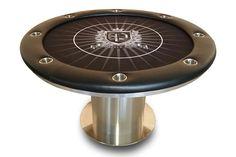 Custom felt, round stainless steel pedestal