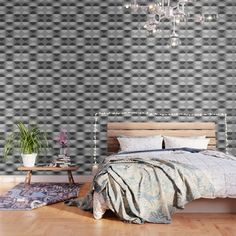 Horizons The Sun & The Moon Eclipse - Black & White Wallpaper by denidesigns Black And White Wallpaper, Wallpaper Patterns, Three Floor, Accent Walls, Peel And Stick Wallpaper, Fabric Panels, Repeating Patterns, Online Marketing, Adhesive