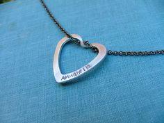 Simple Slide Custom Hand Stamped Aluminum Heart Washer Slide Pendant Keepsake Necklace by MyBella