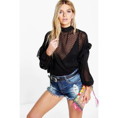 Boohoo Hannah Sheer Dobby Spot Ruffle Sleeve Blouse (780.325 VND) ❤ liked on Polyvore featuring tops, blouses, black, off the shoulder crop top, cropped camisoles, bodysuit blouse, see through blouse and sequin bodysuit