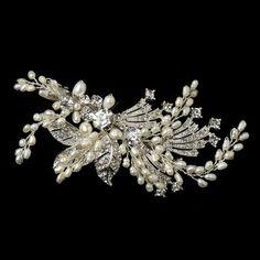 Vintage Look Freshwater Pearl and Crystal Wedding Hair Clip--Affordable Elegance Bridal -