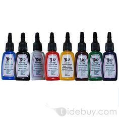 Tattoo Ink Pigment Complete set 8 Color 1/2 oz
