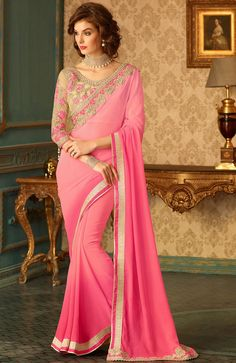 Pink Georgette Saree with Designer Blouse