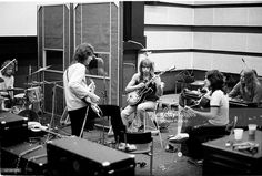 English progressive rock band Yes recording their 'Fragile' LP at Advision Studios in London, 20th August 1971. From left to right, drummer Bill Bruford, bassist Chris Squire, guitarist Steve Howe, singer Jon Anderson and keyboard player Rick Wakeman.