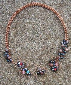 copper, viking chain, semi precious stone, fresh water pearls, coral, hematite, hand made, necklace