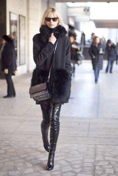 Karolina Kurkova...in a ridiculously sexy coat.