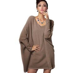 Lixmee women batwing knitted loose fit sweater