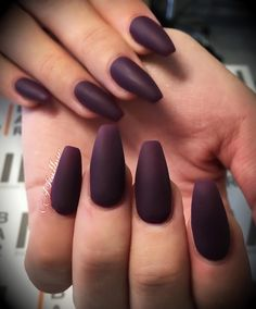 Maroon matte coffin nails. Obsessed.
