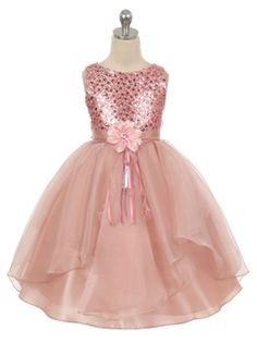 Blush Sequined Bodice Organza Layered Skirt Flower Girl Dress (Available in Sizes 4-14 in 4 Colors)