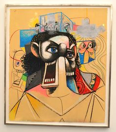 """Xavier Hufkens Gallery, Brussels - George Condo  """"Jesus and The Cross"""" 2008 Acrylic, charcoal, pastel and sand on paper"""