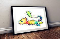 Mew Watercolor print and original by GreyFoxDesign on Etsy