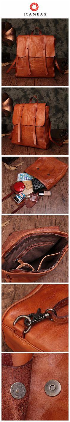 74a1db5c21dc Handmade Fashion Designer Top Grain Leather Backpacks For Women