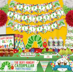 The Very Hungry Caterpillar Birthday Party Package - Standard Party Package - Personalized and Editable  - Printable PDF - PK-12- via Etsy