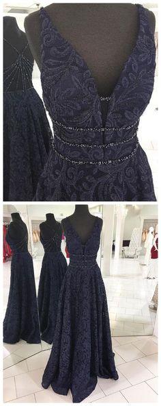 Dark blue v neck long prom dress, blue evening dress P0951 #promdresses #longpromdress #2018promdresses #fashionpromdresses #charmingpromdresses #2018newstyles #fashions #styles #hiprom #prom #navyblue #lace