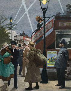 London Blitz WWI Style (Original) art by Ralph Bruce The Blitz, History Images, Wwi, First World, Digital Image, World War, Original Artwork, Art Gallery, Illustration Art