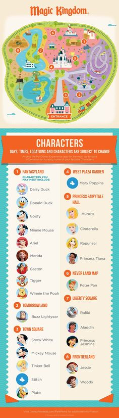 Check out who you can meet, and where to meet them, at the Magic Kingdom® Park with this handy guide!