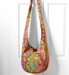 Hobo Bag Sling Bag Retro Psychedelic Paisley by 2LeftHandz on Etsy, $36.00