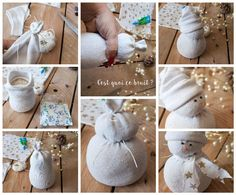 DIY this snowman in a sock - Home Page Snowman Christmas Decorations, Beaded Christmas Ornaments, Christmas Snowman, Diy Christmas Gifts, Holiday Crafts, Christmas Holidays, Sock Snowman Craft, Sock Crafts, Snowman Crafts