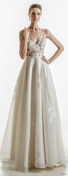 jillian 2018 bridal sleeveless v neck heavily embellished bodice elegant a  line wedding dress open v back medium train (14) mv -- Jillian 2018 Wedding Dresses