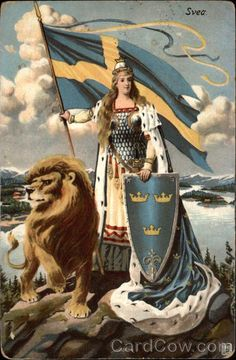 personification of countries History Of Sweden, Heroes And Generals, Sweden Flag, Swedish Army, Legends And Myths, Lion Art, Historical Maps, Cat Tattoo, Illustrations And Posters