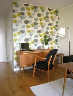 Work and comfort? Decor, Retro Wallpaper, Interior Inspiration, Dandelion Clock, Mid Century Modern Furniture, Modern Style Furniture, Home Deco, Clock Wallpaper, Interior Deco