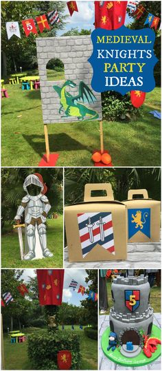 What an amazing castle party with knights and swords! See more party ideas at Ca… Dragon Birthday Parties, Dragon Party, Birthday Party Themes, Boy Birthday, Birthday Crowns, Kids Party Themes, Birthday Ideas, Castle Party, Medieval Party