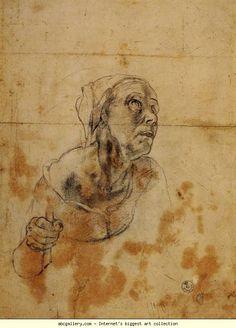 Agnolo Bronzino  -  Study for the Head of an Old Woman. Black chalk. Galleria degli Uffizi, Florence, Italy.