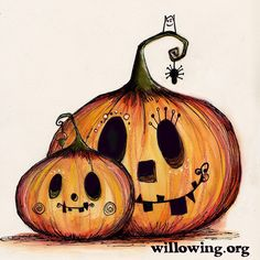 Awww momma and bubba pumpkins #halloweenart #pumpkinart #willowing #willowingarts #tamfb #mixedmedia #illustration #drawing #cutecutecute
