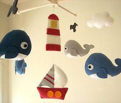 Baby crib mobile Felt mobeil Baby crib mobile Whale by Feltnjoy