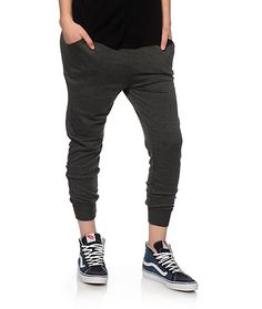 Get your style right with these solid charcoal joggers crafted from a lightweight terry construction and a high rise waist with a drop crotch.