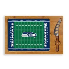 Seattle Seahawks Football Field Glass Top Cutting Board