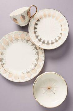 Dinner Plate Sets, Dinner Sets, Dinner Plates, Dinner Ware, Motif Art Deco, Art Deco Design, White Dinnerware, Dinnerware Sets, Anthropologie