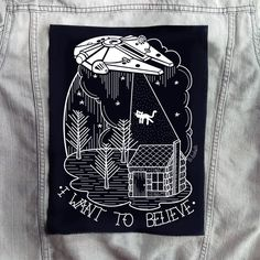 I want to believe backpatch. Millennium Falcon onto black 100% cotton fabric. Made in Spain, printed in Galicia. Measures: 33 cm. x 25 cm. aprox....
