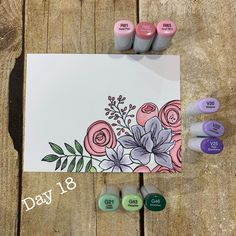 Some Coloring fun! Floral Drawing, Flower Drawings, Copic Marker Art, Creative Bookmarks, Envelope Art, Paint Cards, Copics, Watercolor Cards, Envelopes